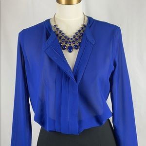 Olive & Oak Royal Blue Button Down Blouse, Size S